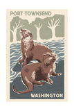 Port Townsend  Washington - River Otters - Woodblock Print