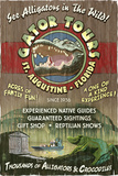 St Augustine  Florida - Alligator Tours Vintage Sign