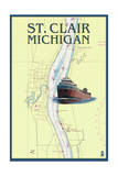 St Clair  Michigan - Nautical Chart