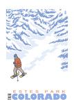 Estes Park  Colorado - Stylized Snowshoer