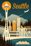 Seattle  Washington - Retro Skyline