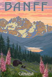 Banff, Canada - Bear and Spring Flowers Reproduction d'art par Lantern Press