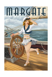Margate  New Jersey - Pinup Girl Sailing