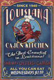 Louisiana - Cajun Kitchen Crawfish Vintage Sign