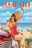 Ocean City  New Jersey - Woman Waving