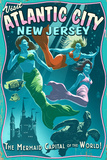 Atlantic City  New Jersey - Mermaids Vintage Sign