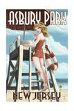 Asbury Park  New Jersey - Lifeguard Pinup Girl