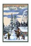 Steamboat Springs  Colorado - Snowman Scene