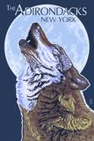 The Adirondacks  New York - Wolf Howling at Moon