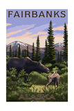 Fairbanks  Alaska - Moose and Baby