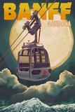 Banff  Canada - Gondola and Full Moon