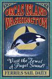 Orcas Island  WA - Orca Whale Vintage Sign