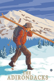 The Adirondacks  New York State - Skier Carrying Skis