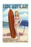Cape Hatteras  North Carolina - Surfer Girl Pinup