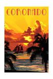 Coronado  California - Sunset and Ship