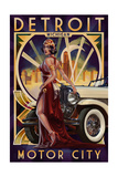 Detroit  Michigan - Deco Woman and Car