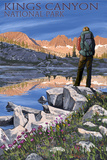 Hiker and Lake - Kings Canyon National Park  California