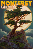 Monterey  California - Cypress and Full Moon