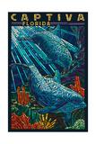 Captiva  Florida - Dolphin Paper Mosaic