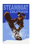 Steamboat  Colorado - Colorblocked Snowboarder