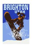 Brighton Resort  Utah - Colorblocked Snowboarder