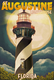 St Augustine  Florida - Lighthouse and Moon