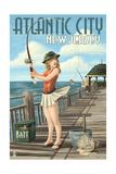Atlantic City  New Jersey - Fishing Pinup Girl