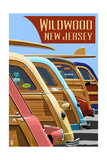 Wildwood  New Jersey - Woodies Lined Up