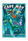 Cape May  New Jersey - Mermaids Vintage Sign