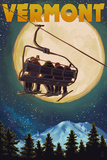 Vermont - Ski Lift and Full Moon