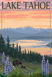 Lake Tahoe - Bear Family and Spring Flowers Reproduction d'art par Lantern Press