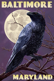 Baltimore  Maryland - Raven and Moon Purple Sky