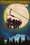 Steamboat Springs  Colorado - Ski Lift and Full Moon