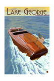 Lake George  New York - Wooden Boat on Lake