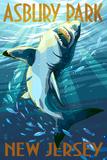Asbury Park  New Jersey - Stylized Shark