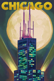 Chicago  Illinois - Willis Tower and Full Moon
