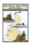 Block Island  Rhode Island - Nautical Chart with Ferry
