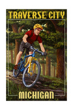 Traverse City  Michigan - Mountain Biker in Trees