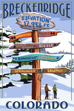 Breckenridge  Colorado - Ski Run Signpost