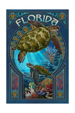 Florida - Sea Turtle Art Nouveau