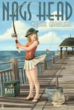 Nags Head  North Carolina - Pinup Girl Fishing