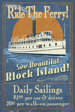 Block Island  Rhode Island - Ferry Ride Vintage Sign
