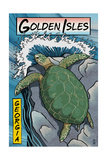 Golden Isles  Georgia - Sea Turtles Woodblock Print