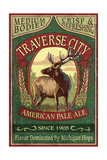 Traverse City  Michigan - Elk Head Pale Ale Vintage Sign