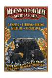 Great Smoky Mountains  North Carolina - Black Bears Vintage Sign
