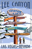 Lee Canyon - Las Vegas  Nevada - Ski Signpost