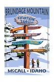 Brundage Mountain  McCall  Idaho - Ski Destination Signpost
