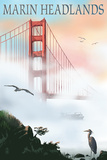 Marin Headlands - Golden Gate Bridge in Fog