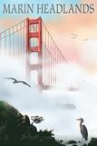 Marin Headlands - Golden Gate Bridge in Fog