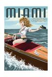 Miami  Florida - Pinup Girl Boating